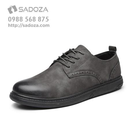 Giày da nam cao cấp xám đen sành điệu